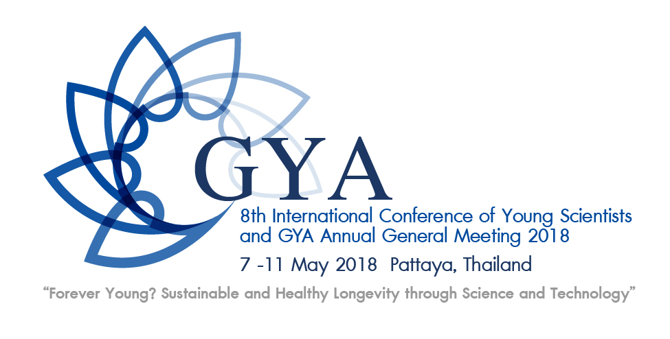 Image of the official logo of the 8th International Conference of Young Scientists and GYA Annual General Meeting. 7 to 11 May 2018 in Pattaya, Thailand. Forever Young?  Sustainable and healthy longevity through science and technology